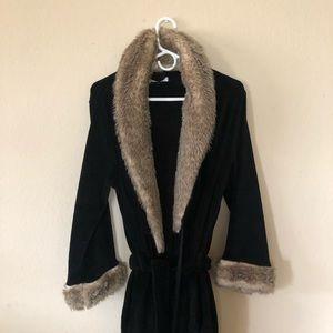 Soft black faux fur robe